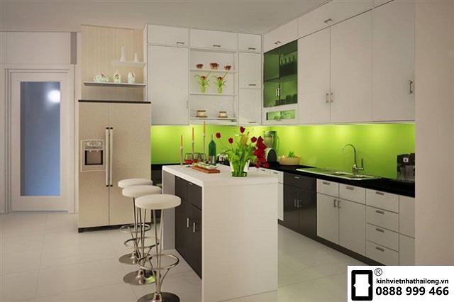 Kính ốp bếp màu xanh non mẫu 6