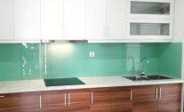 Kính ốp bếp màu xanh ngọc