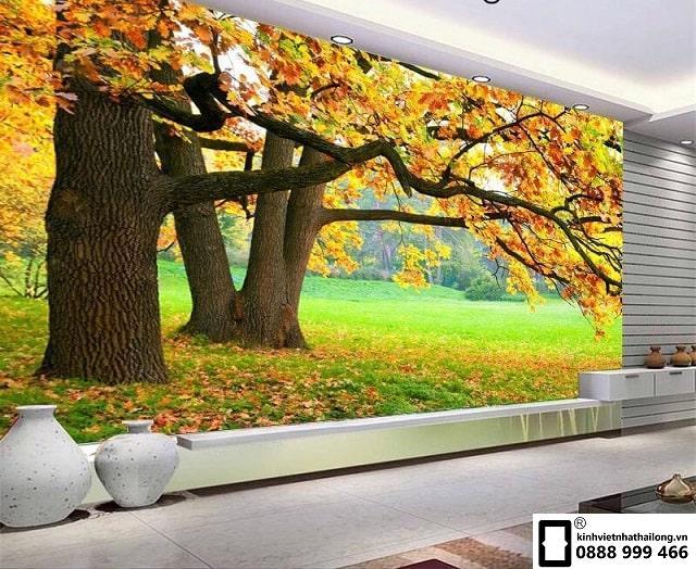 Tranh kính rừng cây mùa thu