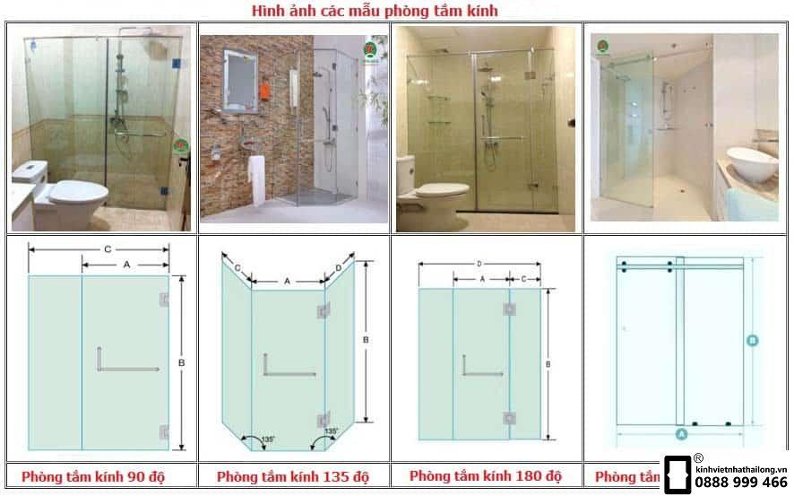 Kích thước các loại phòng tắm kính