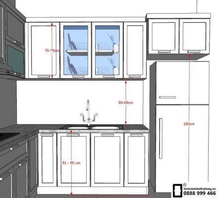 Chiều cao và kích thước kính ốp bếp