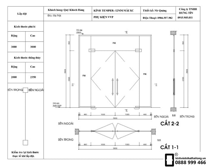 Kích thước cửa kính cường lực theo phong thủy
