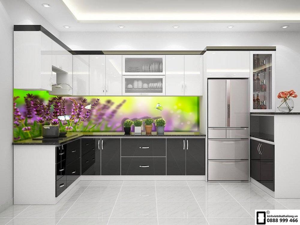 Kính màu ốp bếp 3D mẫu 1
