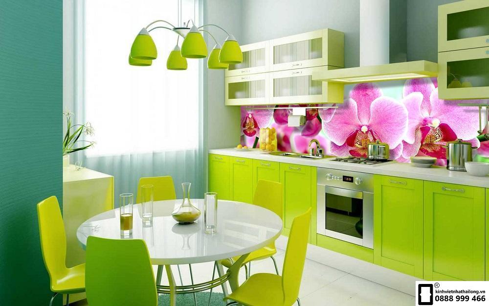 Kính màu ốp bếp 3D mẫu 2