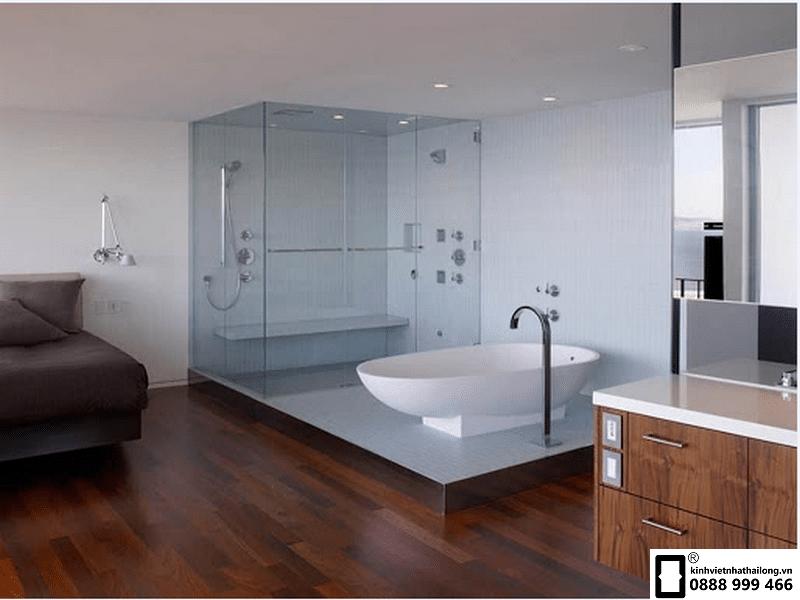 vách kính nhà tắm sang trọng hiện đại