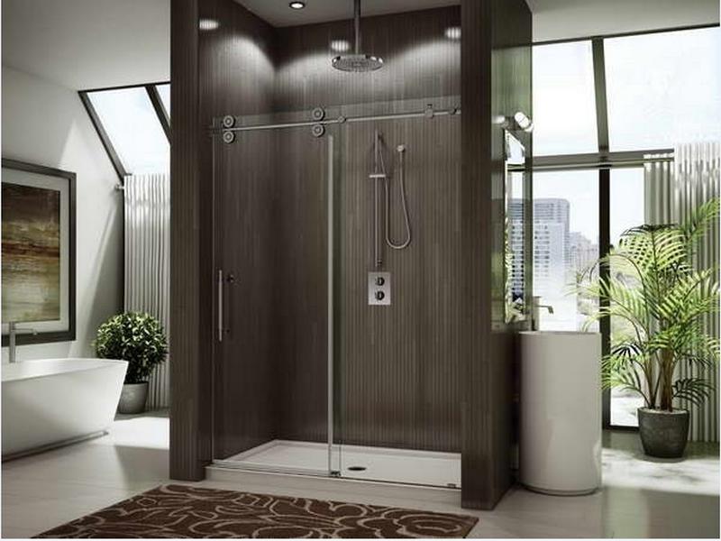 vách kính nhà tắm cửa lùa ấn tượng