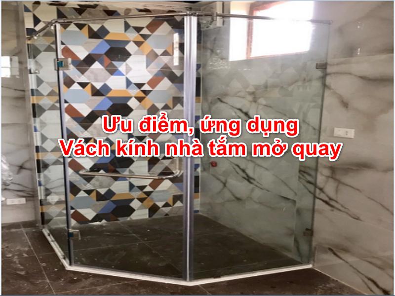vách kính nhà tắm mở quay