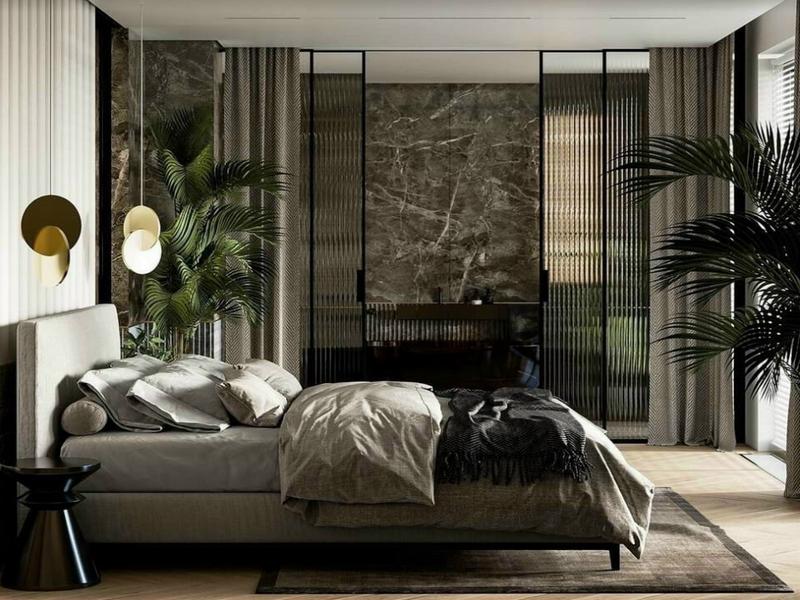 Kính ép lụa được sử dụng để trang trí phòng ngủ