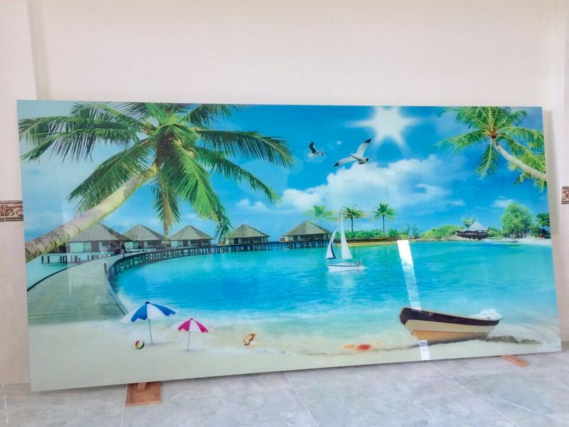 Tranh kính in 3D bãi biển