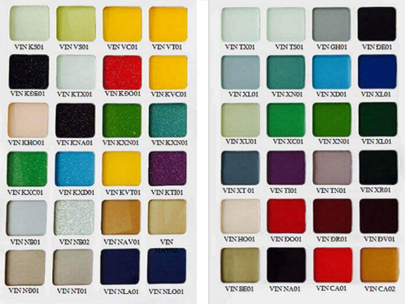 Bảng màu đa dạng của kính chịu nhiệt