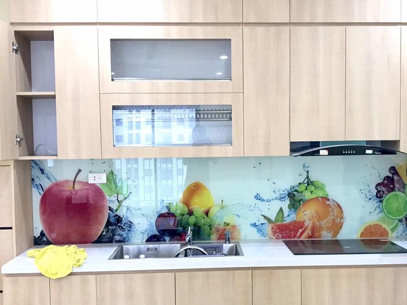 Kính ốp bếp chịu nhiệt 3D hoa quả tươi mát